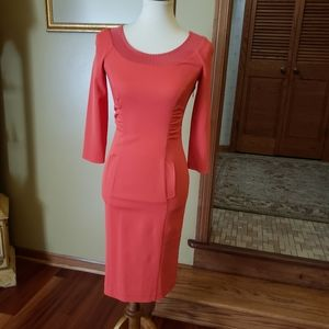 Alberta Ferretti Salmon Flap Pocket Knit Dress